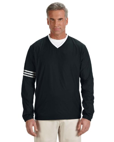 [adidas Golf Men's climalite Colorblock V-Neck Wind Shirt, Large, BLACK/BLACK] (Adidas Climalite Colorblock Pullover)