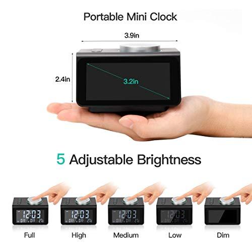 ANJANK Small Alarm Clock Radio - FM Radio,Dual USB Charging Ports,Temperature Display,Dual Alarms with 7 Alarm Sounds,5 Level Brightness Dimmer,Headphone Jack,Bedrooms Sleep Timer