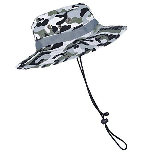 Eforstore Camouflage Ripstop Floppy Bucket Summer Fish Bush Boonie Hat with Snap (Woodland Camo White)