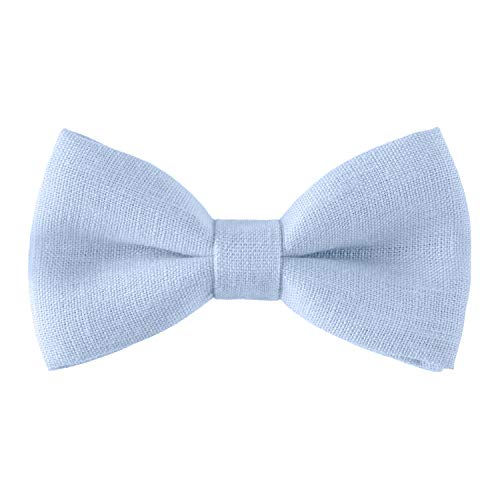 Linen Classic Pre-Tied Bow Tie Formal Solid Tuxedo, by Bow Tie House (Small, Pastel - Light Boys Blue Linen
