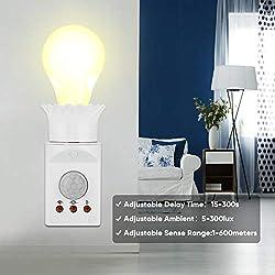 Infrared Motion Light Sensor Socket, E27 Plug In Body PIR Automatic Adjustable LED Lights Switches, Lamp Holder Screw Bulb Socket AC 110~250V Suitable For Indoor Aisle Garage