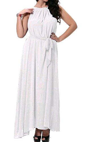 Neck Sleeveless Sun Maxi Chiffon Long White Coolred Beach Women Dress 5qtXf