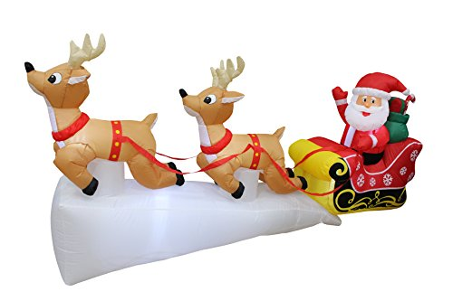 Santa Claus And Reindeer Decoration - 8 Foot Long Lighted Christmas Inflatable Santa Claus on Sleigh with Two Flying Reindeer and Gifts Yard Decoration