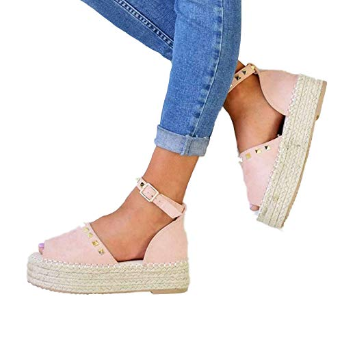 Liyuandian Womens Open Toe Espadrille Ankle Strap Boho Lace Up Rivet Flatform Sandals