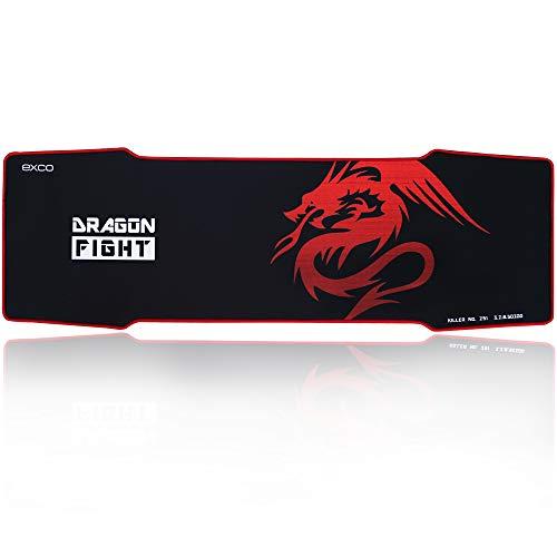 EXCO Extra Largas Raton de Juego Pad, 900×300×5mm de grosor, Tamano Grande Alfombrilla de Raton con Superficie Lisa y Precisa de Seguimiento (negro) Color Dragon Rojo