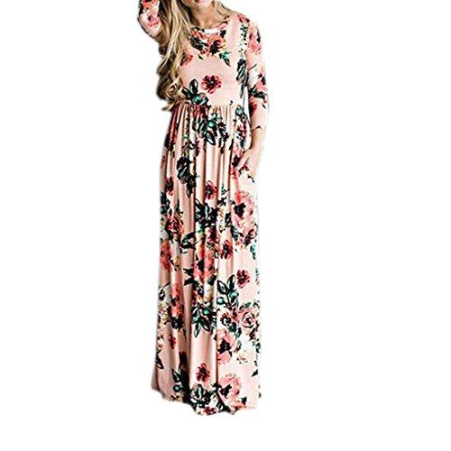 Babysbreath Femmes manches longues O-cou Floral imprimé étage-longueur robes Maxi Summer Beach Party Dresses