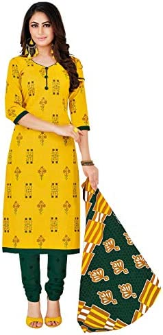 Miraan Women Cotton Unstitched Dress Material (SAN1404, Yellow, Free Size)