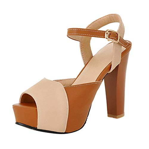 (YKARITIANNA Summer Women's Sandals High Heels Thick-Soled Sexy Fish Mouth Ankle Strap Sandal Beige)