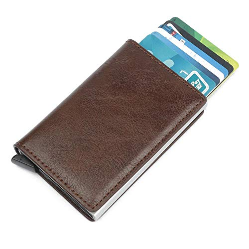 Pelle Automatico Portafoglio Coffee Da Marrone Clip Per Credito Uomo Con In Minimalista Banconote Volwco Carte Di v5ZZqa