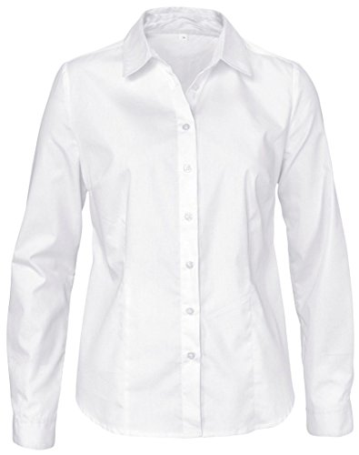 Button Down Tailored Work Shirt (Dioufond Womens Basic Long Sleeve Formal Work Wear Simple Shirt With Stretch(L White))