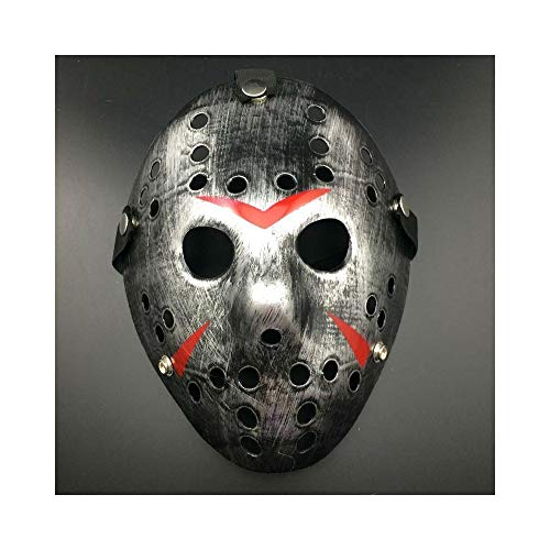 Yal Boutique Jason Voorhees Friday The 13th Horror Movie Hockey Mask Scary Halloween USA (Silver)