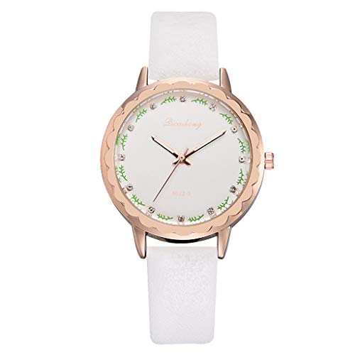Bravetoshop Women Simple Leisure Twigs Scale Leather with StrLadies Watches(White)