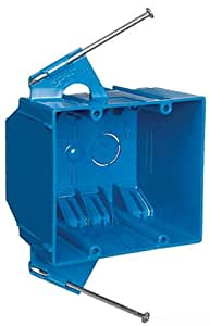 Carlon B232A-UPC Switch/Outlet Box, New Work, 2 Gang, 3-3/4-Inch Length by 4-Inch Width by 3-Inch Depth, Blue