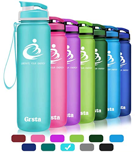 Grsta Sport Water Bottle 28oz(800ml), Wide Mouth Leak Proof BPA Free Eco-Friendly Plastic Drink Best Water Bottles for Outdoor/Running/Camping/Gym w Flip Top Lid & Filter Open with 1-Click(Light Blue)