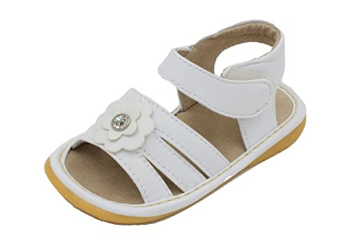 Little Maes Boutique White With Crystal Flower Girl Squeaky Sandals Shoes
