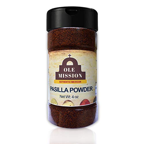 Pasilla Chili Powder 4 oz Ground Chile For Mole Sauce, Taco Seasoning, Tamales, Salsa, Chili, Meats, Soups, Stews by Ole Mission ()