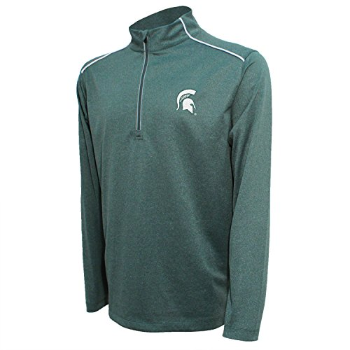Crable NCAA Michigan State Spartans Men's Quarter Zip with Shoulder Piping Polo, Large, Dark Green/White -