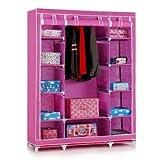 Portable Foldable Clothes Closet Wardrobe Non-woven Fabric Multipurpose Storage Organizer Cupboard Pink Color Almirah By Krishyam