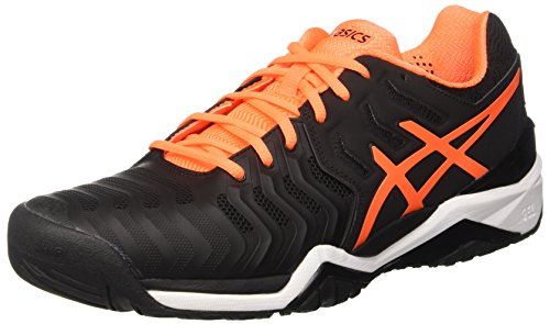 Asics Gel-Resolution 7, Zapatillas de Gimnasia para Hombre, Negro, 7 EU Negro (Black/shocking Orange/white)