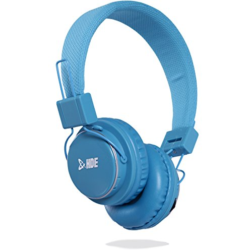 HDE BT-900 Wireless Headphones Bluetooth On-Ear Headset with Built-in Mic and Rechargeable Battery (Light Blue)
