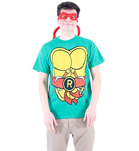 TMNT Teenage Mutant Ninja Turtles Raphael Costume Green T-shirt with Red Eye Mask (Adult Large) (Teenage Mutant Ninja Turtle Raphael Adult Mask)