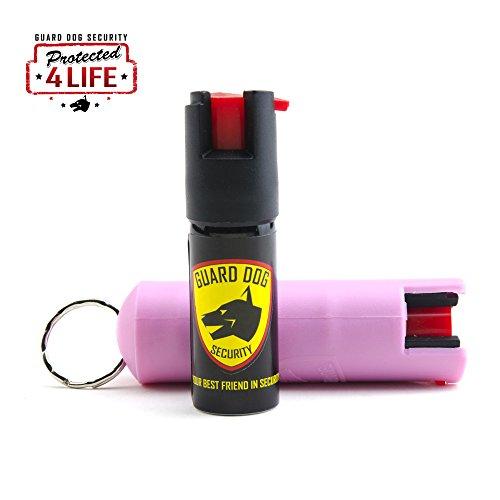 Guard Dog Security Hard Case Pepper Spray Keychain w/ Belt Clip, Red Hot Self Defense Spray with UV Dye, Pink