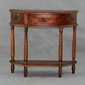 Superbe International Caravan 3867 IC Furniture Piece Carved Half Moon Wall Table
