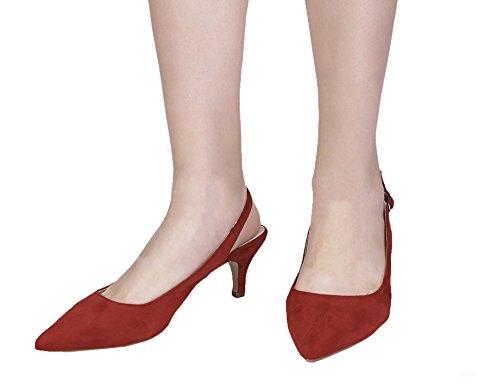Greatonu Spitz Sandalen Slingback Kitten Absatz Pointed Toe Damen Slingback Pumps Rot
