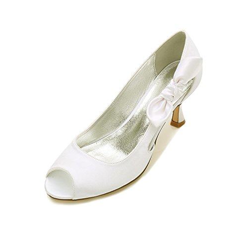 Peep Bas Haut Mariage Peep Nuptiale soirée Talon Bal Bloc Hauts mi Zxstz Talon Talons Parti Toe Femmes ivoire Chaussures blanc Toe w50Cq6BS