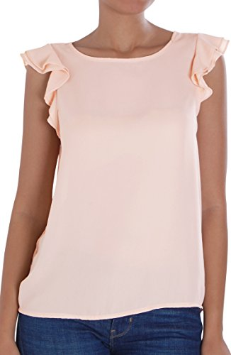Humble Chic Flutter Sleeveless Chiffon Blouse - Ruffle Sleeve High Low Silky Tunic Top, Blush X-Large Plus Size, Pink, Rose Silk Flutter Sleeve Top