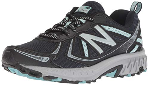 New Balance Women's 410v5 Cushioning Trail Running Shoe, Black/Thunder/Ocean air, 6 B US
