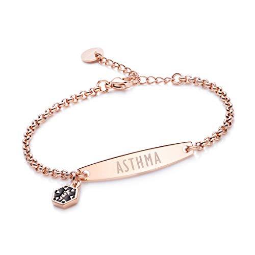 linnalove-Rose Gold Simple Rolo Chain Medical Alert Asthma Bracelet for Women & Girl-Asthma