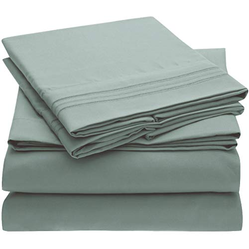 Mellanni Bed Sheet Set - Brushed Microfiber 1800 Bedding - Wrinkle, Fade, Stain Resistant - 4 Piece (King, Spa Blue)