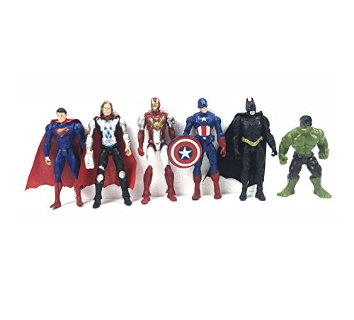 Astra Gourmet 6 PCS The Avengers Figurine Cake Topper, Hulk Captain America Iron Man Thor Batman Superman Party Favor Toys by Astra Gourmet