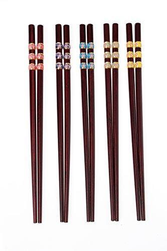 5 Pair Stainless Steel Chopsticks Gift Set Japanese Hotel Restaurant Chopsticks Set (Cherry blossoms) by hopefulcom