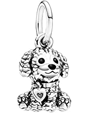 Annmors Poodle Puppy Dog Charm, Black Enamel Dangle Pendant Charm 925 Sterling Silver fits Pandora Charms Bracelets for Woman Girl Beads Gifts for Women Bracelet&Necklace