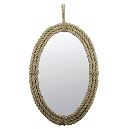 Stonebriar Decorative Oval Rope Mirror with Hanging Loop, Unique Wall -
