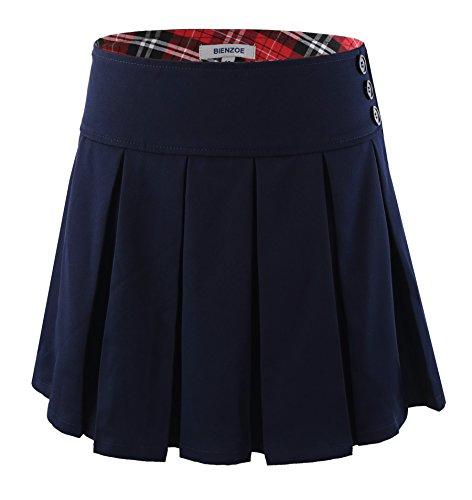 Bienzoe Girl's Stretchy Pleated Adjustable Waist School Uniforms Skirt Navy 10