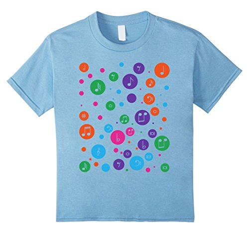 Kids Ploka dots music musical notes tee t shirt multicolor dots 12 Baby Blue (Ploka Dot)