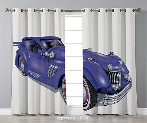 Grommet Blackout Window Curtains Drapes [ Cars,Custom Vehicle with Aerodynamic Design for High Speeds Cool Wheels Hood Spoilers Decorative,Violet Blue ] for Living Room Bedroom Dorm Room Classroom - Aerodynamic Cab