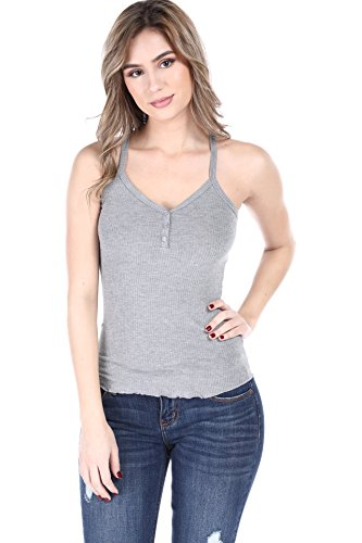 SALT TREE Women's Ribbed Button Front Racer Back Tank Top