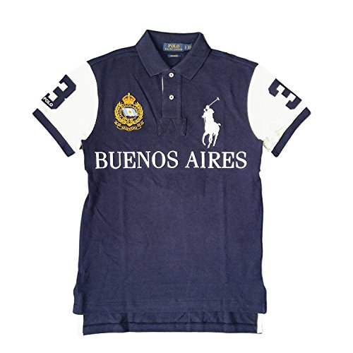 Polo Ralph Lauren Mens Big Pony City Custom Fit Mesh Polo Shirt (XX-Large, French Navy Buenos - Polo Ralph Mens Lauren