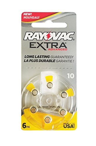 60 Rayovac Extra Mercury Free Hearing Aid Batteries Size: 10 + Battery Holder Keychain Kit