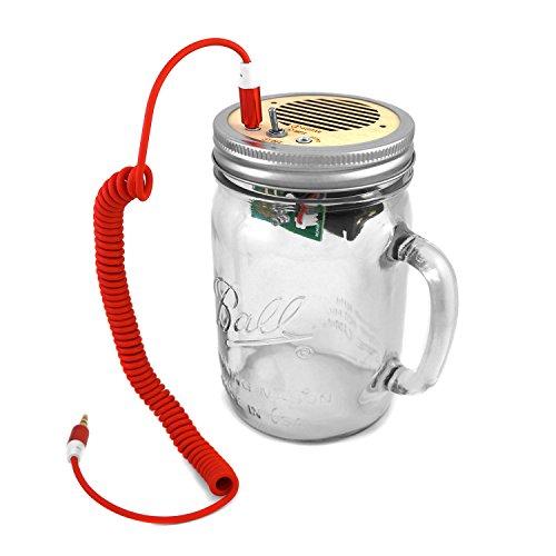 DIY Kit - Portable Speaker & Guitar Amplifier (Red Cord & Clear Handle Jar 24 oz)