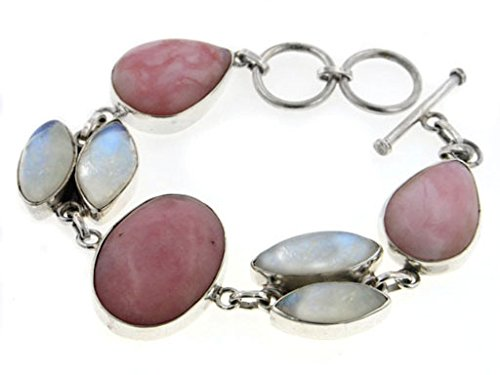 (Sterling Silver Large Peruvian Pink Opal and Rainbow Moonstone Gemstone Toggle Bracelet - Gift Boxed)
