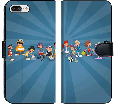 Liili Premium iPhone 8 Plus Flip Micro Fabric Wallet Case Image ID: 16904466 Blue Template for Advertising brochure with Teenager Cartoon Students