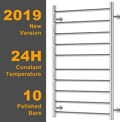 Hromee Wall Mounted Plug-in Straight Towel Warmer Electric Heated Drying Racks for Bathroom Stainless Steel 10 Bars Polished 100 Watt 20.7 Inch x 33.5 Inch