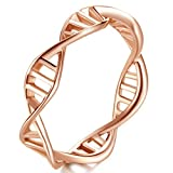 Women Stainless Steel Rose Gold DNA Helix Chemistry Science Molecule Ring Fashion Creative Finger Band Size 9