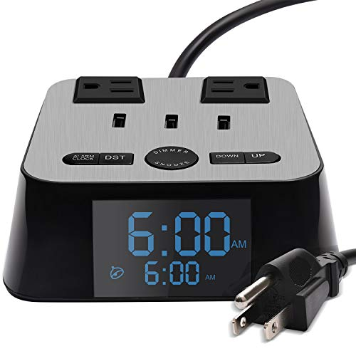 SUPERDANNY Alarm Clock Charger Power Strip Surge Protector USB 3.2A Fast Charging Station 2 Outlets 6.5ft Extension Cord for iPhone iPad Samsung Computer Laptop Home Office Travel Hotel Bedside ()