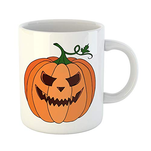 Emvency Coffee Tea Mug Gift 11 Ounces Funny Ceramic Abstract Pumpkin on Doodle Halloween Object Holiday Party Magic Border Gifts For Family Friends Coworkers Boss Mug ()